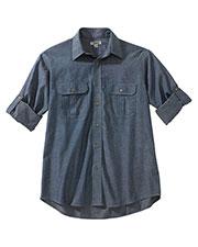 Edwards 1298 Men Chambray Roll-Up Sleeve Shirt at GotApparel