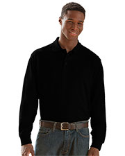 Vantage 2102 Men Long Sleeve Soft-Blend Double-Tuck Pique Polo at GotApparel