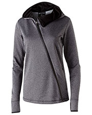 Holloway 229360 Women Polyester Fleece Full Zip Hooded Artillery Angled Jacket at GotApparel