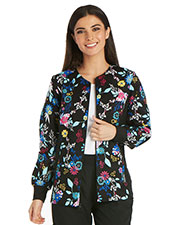 Cherokee 2301 Women Zip Front Knit-Panel Warm-Up Jacket at GotApparel