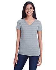 Threadfast Apparel 252RV Women 4.2 oz Invisible Stripe V-Neck T-Shirt at GotApparel