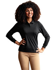 Vansport 2604 Women 's  Omega Long Sleeve Solid Mesh Tech Polo at GotApparel