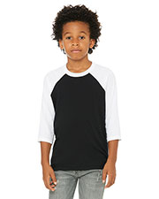 Bella + Canvas 3200Y Boys 3/4-Sleeve Baseball T-Shirt at GotApparel