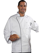 Edwards 3308 Unisex Executive 12 Cloth Button Chef Coat With Black Trim at GotApparel