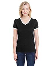 LAT 3532 Women Soccer Ringer Fine Jersey T-Shirt at GotApparel