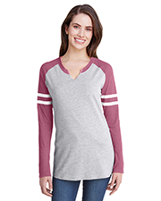 LAT 3534 Ladies Gameday Mash Up Long-Sleeve T-Shirt at GotApparel