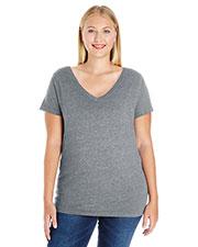 LAT 3807 Women Curvy V-Neck T-Shirt at GotApparel