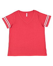 LAT 3837 Ladies Curvy Football T-Shirt at GotApparel