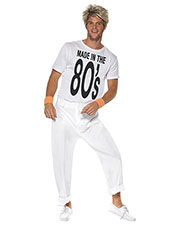 Smiffys 38488L Men Made In 80s Costume, White at GotApparel