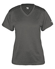 Badger 4362 Women Pro Heather Short-Sleeve V-Neck Performance Tee at GotApparel