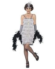 Smiffys 44671L Women Flapper Costume, Silver at GotApparel