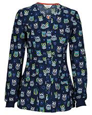Code Happy 46302CA Women Snap Front Print Warm Up Scrub Jacket at GotApparel