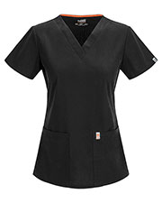 Code Happy 46607AB Women Princess Seam V-Neck Solid Scrub Top at GotApparel