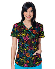Code Happy 46612A Women V-Neck Floral Print Scrub Top at GotApparel
