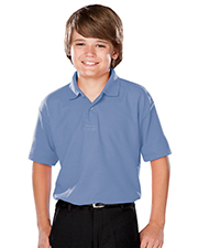 Blue Generation BG5300 Boys YOUTH VALUE MOISTURE WICKING S/S POLO  -  LIGHT BLUE LARGE SOLID at GotApparel