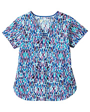 White Swan 5559 Bio Prints Contrast Curved Placket Top at GotApparel
