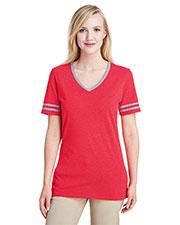 Jerzees 602WVR Women 4.5 oz. TRI-BLEND Varsity V-Neck T-Shirt at GotApparel