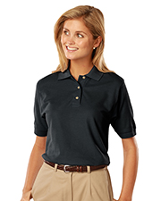 Blue Generation BG6201 Women LADIES SHORT SLEEVE 100% COTTON PIQUE POLO  -  BLACK 2 EXTRA LARGE SOLID at GotApparel