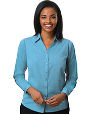 Blue Generation BG6215 Women LADIES CROSS-WEAVE L/S SHIRT AQUA 2 EXTRA LARGE SOLID at GotApparel