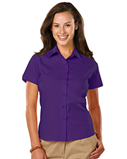 Blue Generation BG6218S Women LADIES EASY CARE STRETCH SS POPLIN  -  BERRY 2 EXTRA LARGE SOLID at GotApparel