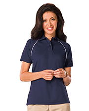 Blue Generation BG6220 Women LADIES WICKING PIPED POLO  -  BLACK 2 EXTRA LARGE SOLID at GotApparel