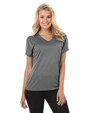 Blue Generation BG6228 Women LADIES HEATHERED WICKING TEE  -  GREY HEATHER 2 EXTRA LARGE SOLID at GotApparel
