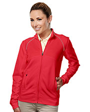 Tri-Mountain Gold 625 Women Exeter Full-Zip Long-Sleeve Knit Shirt at GotApparel