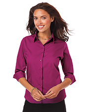 Blue Generation BG6260 Women LADIES 3/4 SLEEVE EASY CARE POPLIN WITH MATCHING BUTTONS  -  BERRY 2 EXTRA LARGE SOLID at GotApparel