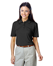 Blue Generation BG6300 Women LADIES VALUE MOISTURE WICKING S/S POLO  -  BLACK 2 EXTRA LARGE SOLID at GotApparel