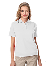 Blue Generation BG6301 Women LADIES WICKING PIPED POLO  -  BLACK 2 EXTRA LARGE SOLID at GotApparel