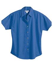 Tri-Mountain 711 Women Monarch Easy Care Short-Sleeve Twill Shirt at GotApparel