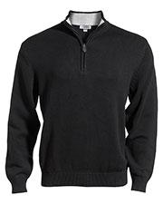 Edwards 712 Men Long-Sleeve Inner Collar Quarter-Zip Cotton Blend Sweater at GotApparel