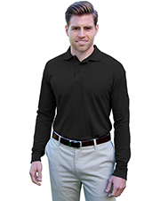 Blue Generation BG7502 Men SOFT TOUCH LONG SLEEVE POLO  -  BLACK 2 EXTRA LARGE SOLID at GotApparel