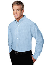 Tri-Mountain 750 Men Techno Stain-Resistant Long-Sleeve Oxford Shirt at GotApparel