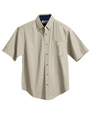 Tri-Mountain 788 Men Valor Cotton Short-Sleeve Peached Twill Shirt at GotApparel