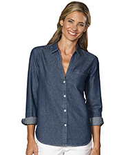 Blue Generation BG8203 Women LADIES L/S UNTUCKED W/ POCKET VINTAGE BLUE 2 EXTRA LARGE SOLID at GotApparel