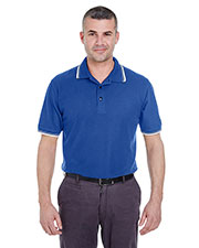 Ultraclub 8545 Men Short-Sleeve Whisper Pique Polo With Tipped Collar And Cuffs at GotApparel