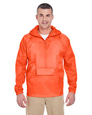Ultraclub 8925 Men 1/4-Zip Hooded Pullover Pack Away Jacket at GotApparel