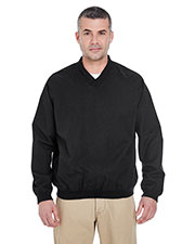 Ultraclub 8926 Men Long-Sleeve Microfiber Crossover V-Neck Wind Shirt at GotApparel