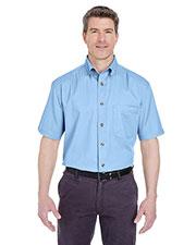 Ultraclub 8965 Men Adult Short-Sleeve Cypress Denim With Pocket at GotApparel