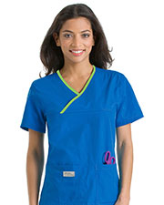 Urbane 9534 Women Double Pocket Crossover Top at GotApparel