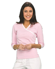 Urbane 9584 Women Knit Surplice Tee at GotApparel