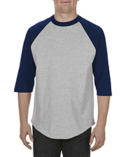 Alstyle AL1334 Adult 6 oz. 100% Cotton 3/4 Raglan T-Shirt at GotApparel