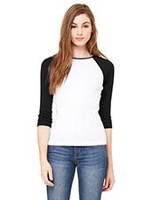 Bella + Canvas B2000 Women Stretch Rib 3/4-Sleeve Contrast Raglan T-Shirt at GotApparel