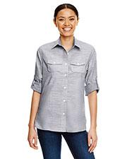 Burnside B5247 Women Texture Woven Shirt at GotApparel