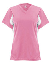 Badger B6170 Women Lady Jersey Pink/Whi S at GotApparel