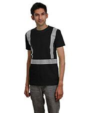 Bayside BA3700 Men 5.4 oz 100% Cotton Hi-Visibility Segmented Striping T-Shirt at GotApparel