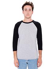 Custom Embroidered American Apparel BB453W Men 3.6 oz Poly Cotton 3/4-Sleeve Raglan T-Shirt at GotApparel