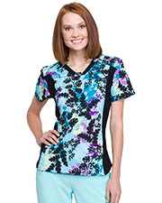 CK641 V-Neck Knit Panel Top at GotApparel