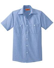 Red Kap  CS20LONG Men Long Size Short-Sleeve Striped Industrial Work Shirt at GotApparel